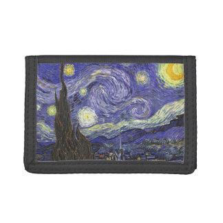 Van Gogh Starry Night, Vintage Fine Art Landscape Trifold Wallet