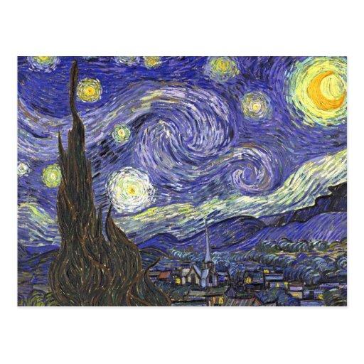 Van Gogh Starry Night, Vintage Post Impressionism Postcard
