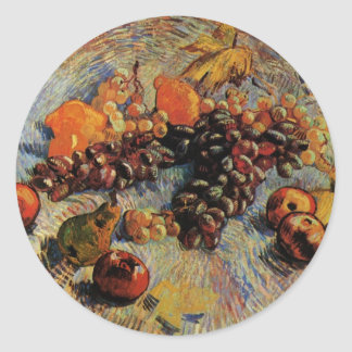 Van Gogh; Still Life Apples, Pears, Lemons, Grapes Classic Round Sticker