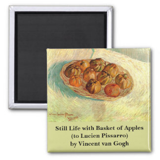 Van Gogh Still Life Basket Apples Vintage Fine Art Square Magnet
