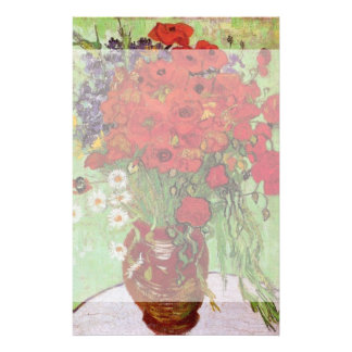 Van Gogh Still Life Flower Red Poppies and Daisies Stationery Paper