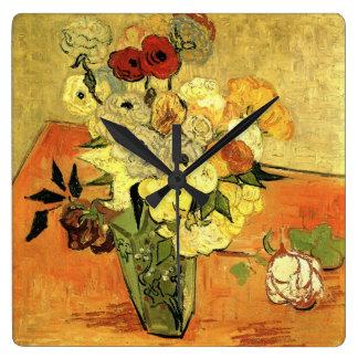 Van Gogh Still Life Japanese Vase Roses Anemones Square Wall Clock