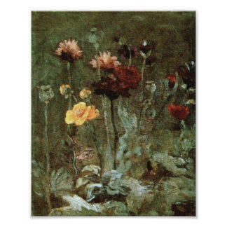 Van Gogh Still Life Scabiosa Ranunculus (F666)Fine Poster