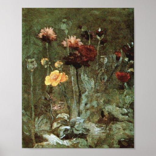 Van Gogh Still Life Scabiosa Ranunculus (F666)Fine Print