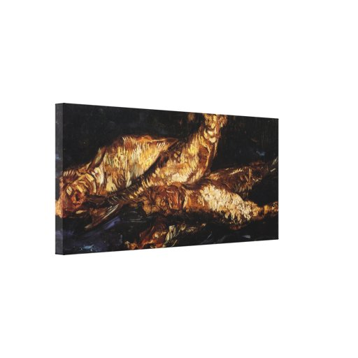 Van Gogh Still Life w Bloaters, Vintage Fine Art Stretched Canvas Print
