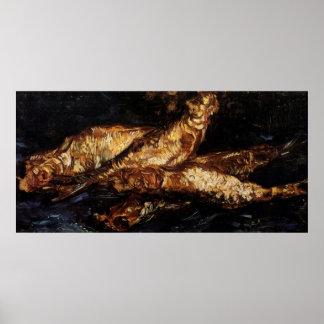 Van Gogh Still Life w Bloaters, Vintage Fine Art Poster