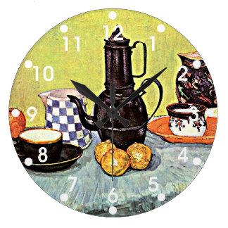 Van Gogh: Still Life with Blue Enamel Coffeepot Large Clock