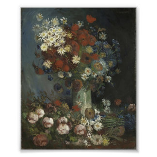 Van Gogh- Still life with meadow flowers and roses Poster