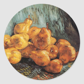 Van Gogh Still Life with Quince Pears, Vintage Art Classic Round Sticker