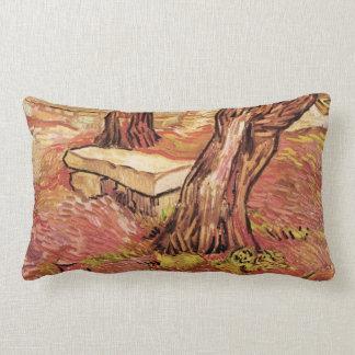 Van Gogh Stone Bench in Garden, St Paul Hospital Lumbar Pillow