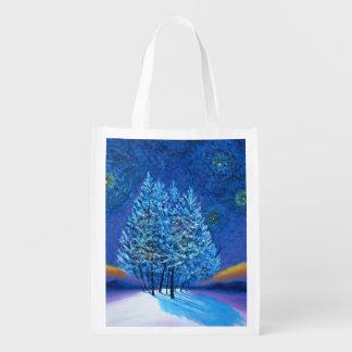 Van Gogh Style Christmas Reusable Grocery Bags
