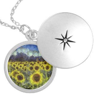Van Gogh Sunflowers Locket Necklace