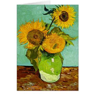 Van Gogh - Sunflowers (three), Van Gogh painting Card