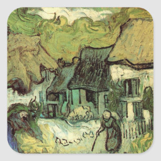 Van Gogh Thatched Cottage Jorgus, Vintage Fine Art Square Sticker