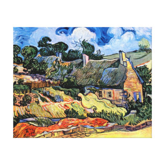 Van Gogh - Thatched Cottages At Cordeville Stretched Canvas Print