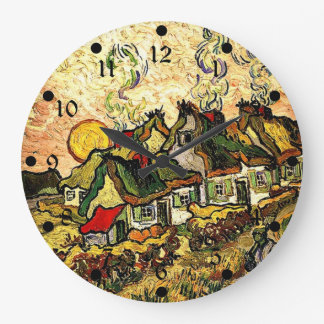 Van Gogh: Thatched Cottages in the Sunshine Large Clock