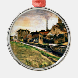 Van Gogh: The Factory of Enthoven on the Zieken Silver-Colored Round Ornament