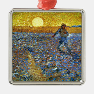 Van Gogh - The Sower Silver-Colored Square Ornament