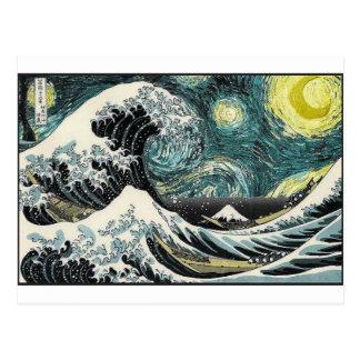 Van Gogh The Starry Night - Hokusai The Great Wave Postcard