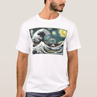 Van Gogh The Starry Night - Hokusai The Great Wave T-Shirt