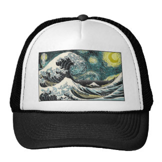 Van Gogh The Starry Night - Hokusai The Great Wave Trucker Hat