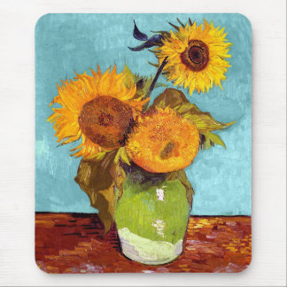 Van Gogh - Three Sunflowers In A Vase - Fine Art Mouse Pad