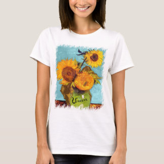 Van Gogh - Three Sunflowers In A Vase Fine Art T-Shirt