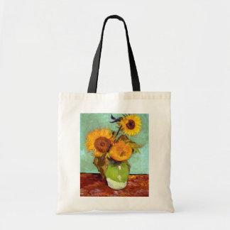 Van Gogh - Three Sunflowers In A Vase - Fine Art Tote Bag