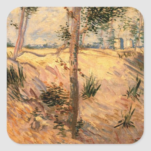 Van Gogh Trees in a Field on a Sunny Day Stickers