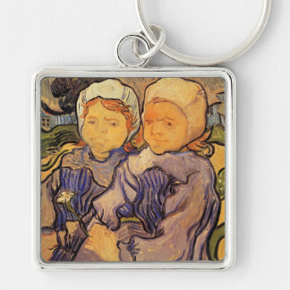 Van Gogh, Two Children, Vintage Impressionism Art Silver-Colored Square Keychain
