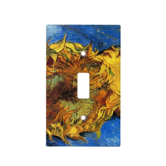 Van Gogh Two Cut Sunflowers, Vintage Fine Art Light Switch Cover