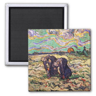 Van Gogh - Two Peasant Women Digging In Field Square Magnet
