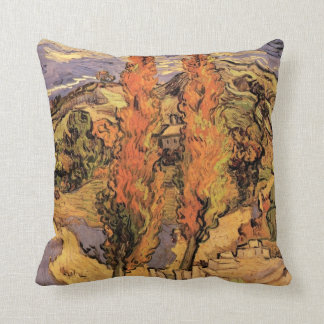 Van Gogh Two Poplars on a Road Through the Hills Throw Pillow