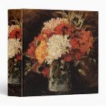 Van Gogh Vase w Carnations, Vintage Floral Flowers 3 Ring Binders