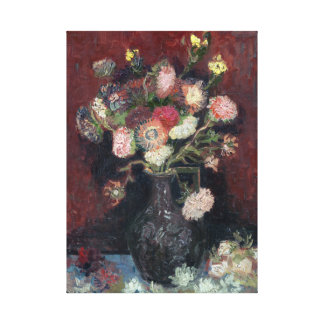 van Gogh Vase with Chinese Asters and Gladioli Canvas Print