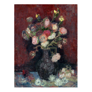 van Gogh Vase with Chinese Asters and Gladioli Postcard