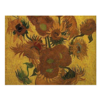 van gogh vase with fifteen sunflowers amsterdam postcard