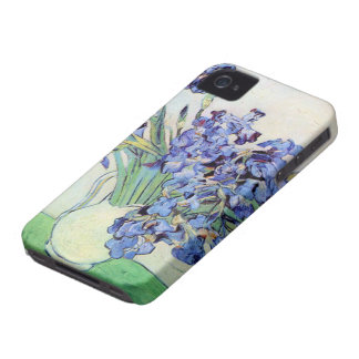 Van Gogh Vase with Irises, Vintage Floral Fine Art iPhone 4 Cover