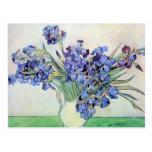 Van Gogh Vase with Irises, Vintage Floral Fine Art Postcard