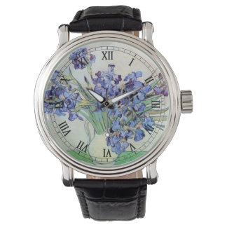 Van Gogh Vase with Irises, Vintage Floral Fine Art Watch