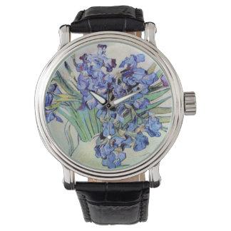 Van Gogh Vase with Irises, Vintage Floral Fine Art Wrist Watches