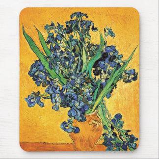 Van Gogh - Vase with Irises Yellow Background Mouse Pad