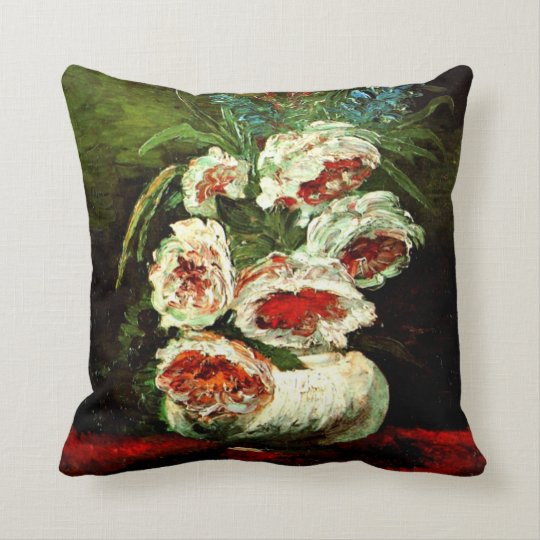 Van Gogh: Vase with Peonies Throw Pillow