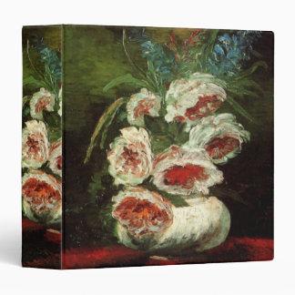 Van Gogh Vase with Peonies, Vintage Fine Art 3 Ring Binder