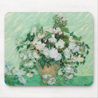 Van Gogh Vase with Pink Roses Floral Painting Mouse Pad