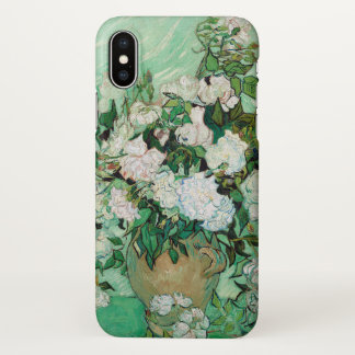 Van Gogh Vase with Pink Roses Flowers Painting iPhone X Case