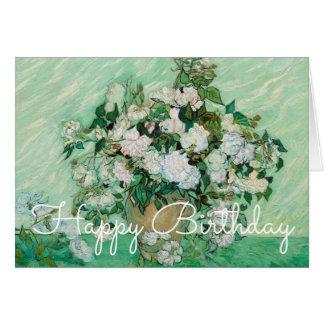 Van Gogh Vase with Pink Roses Painting Birthday Greeting Card