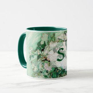 Van Gogh Vase with Pink Roses Vintage Art Monogram Mug
