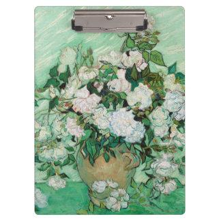 Van Gogh Vase with Pink Roses Vintage Floral Art Clipboard