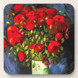 Van Gogh Vase With Red Poppies Beverage Coasters